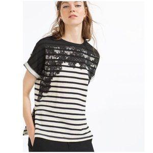 ZARA Black+White Collection Lace Tee T-Shirt sz M